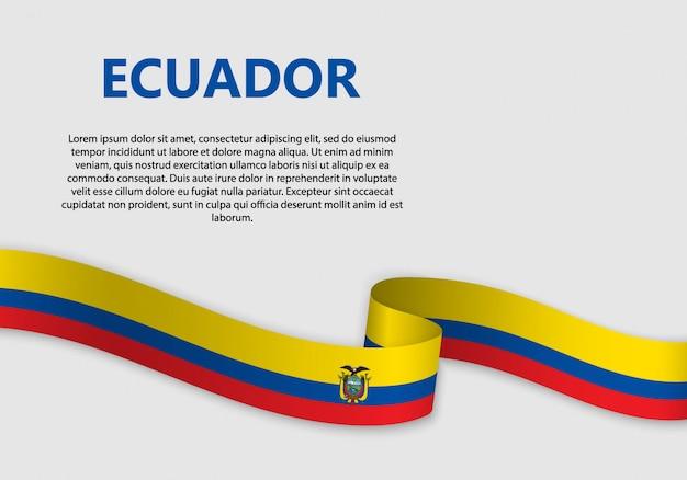 Wehende flagge von ecuador banner Premium Vektoren