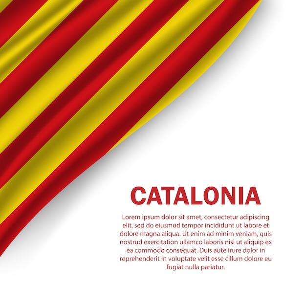 Wehende flagge von katalonien vorlage Premium Vektoren