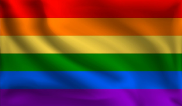 Wehende lgbt-flagge, die flagge von lgbt Premium Vektoren