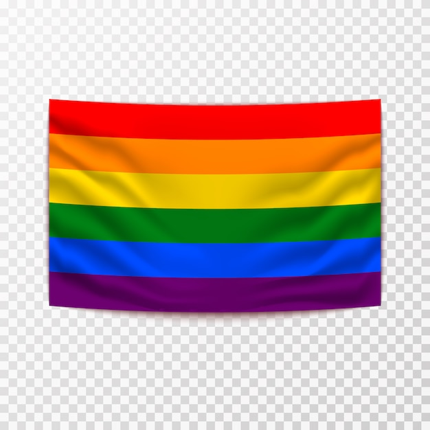 Wehende lgbt-flagge Premium Vektoren