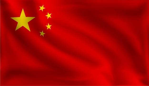 Wehte die chinesische flagge, die chinesische flagge Premium Vektoren