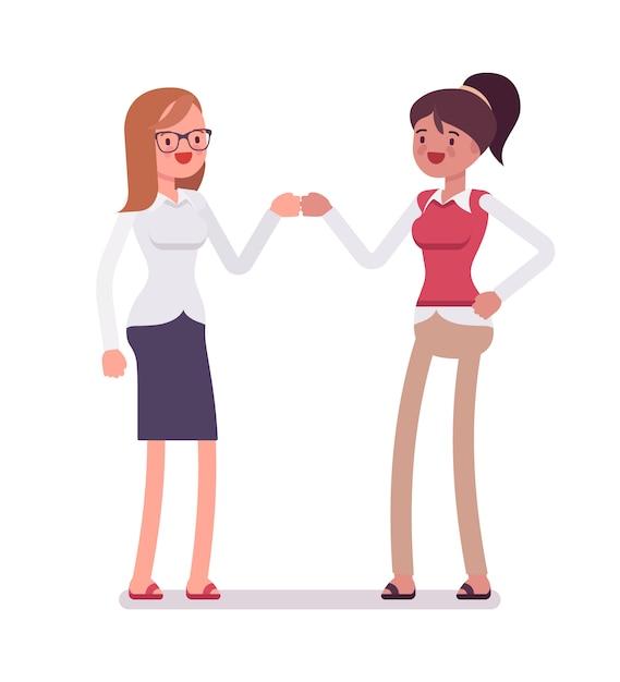 Weibliche angestellte fauststoß Premium Vektoren