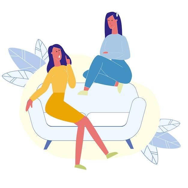 Weibliche beste freunde, die flache illustration sprechen Premium Vektoren