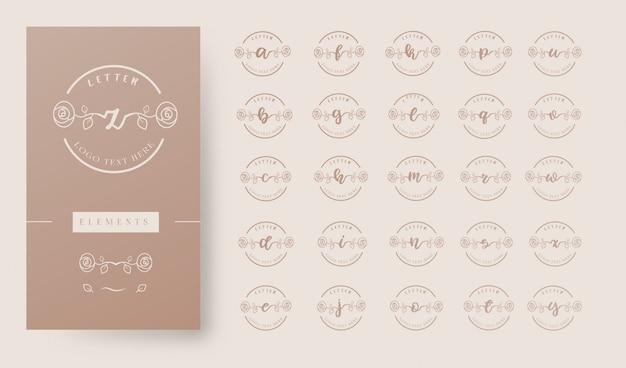 Weibliche blumen brief logo vorlage Premium Vektoren
