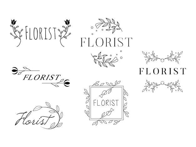 Weibliche blumen logo vorlagen florist hochzeitsplaner Premium Vektoren