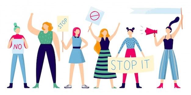 Weibliche demonstranten, weiblicher gruppenprotest, starke frau, die feminismusplakat und frauenrechtmanifestation flach hält Premium Vektoren