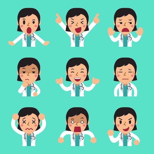 Weibliche doktorfrauen der karikatur, die verschiedene gefühle zeigen Premium Vektoren