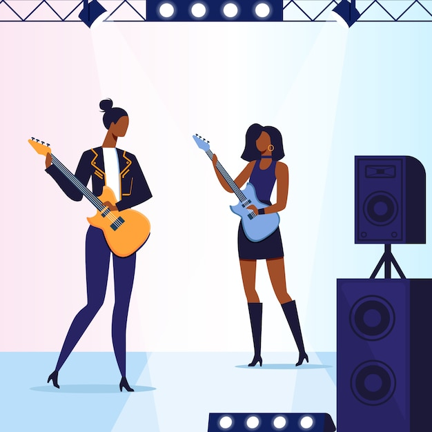 Weibliche gitarrist-leistungs-illustration Premium Vektoren