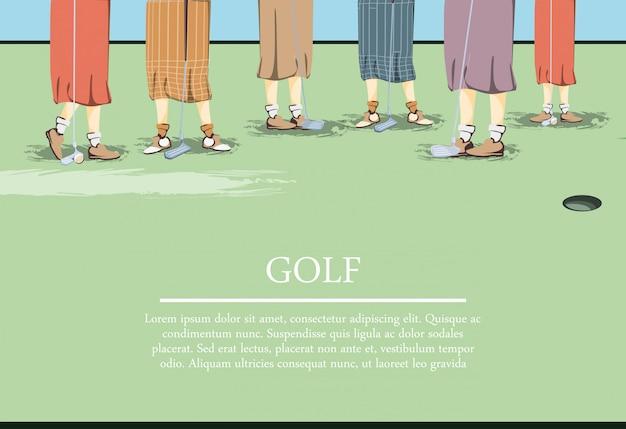 Weibliche golfspielerfüße auf golfplatz Premium Vektoren