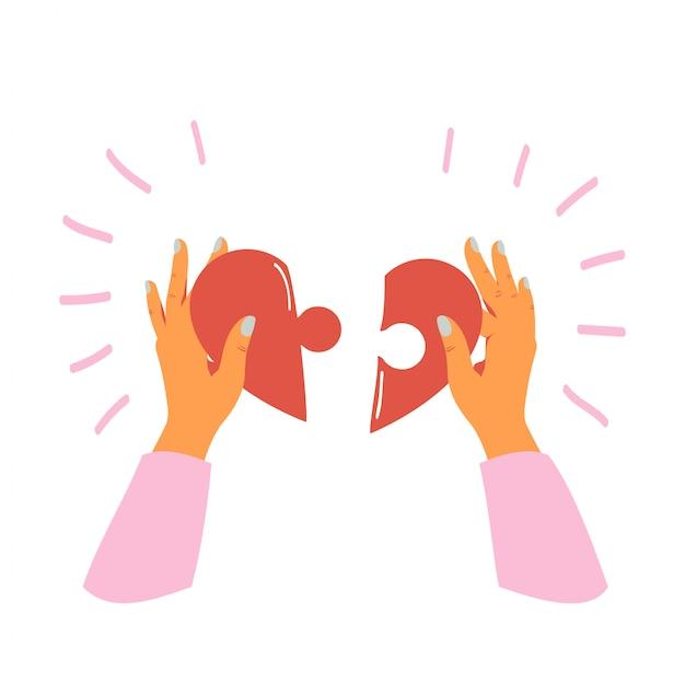 Weibliche hände hält und faltet stücke des herzens puzzlespiel Premium Vektoren