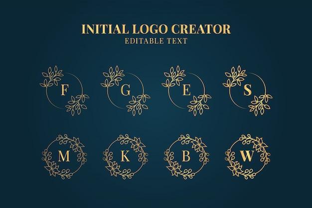 Weibliche initialen logo creator collection, satz dekorative blumenanfangslogos Premium Vektoren