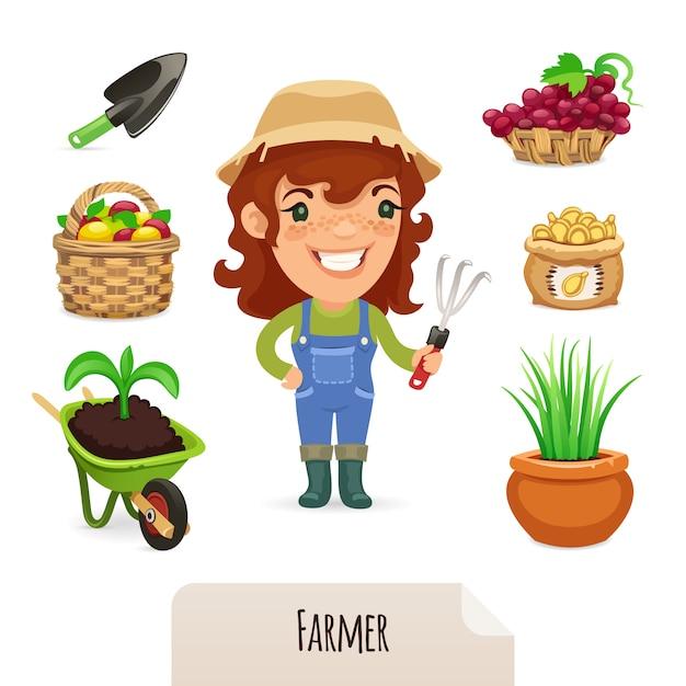 Weibliche landwirt icons set Premium Vektoren