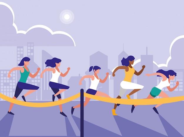 Weibliche leichtathletik race avatar charakter Premium Vektoren