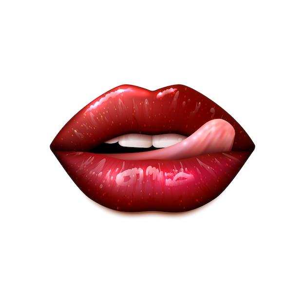 Weibliche lippen bilden Kostenlosen Vektoren