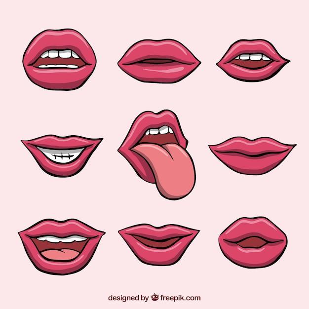 Weibliche lippensammlung mit 2d art Kostenlosen Vektoren