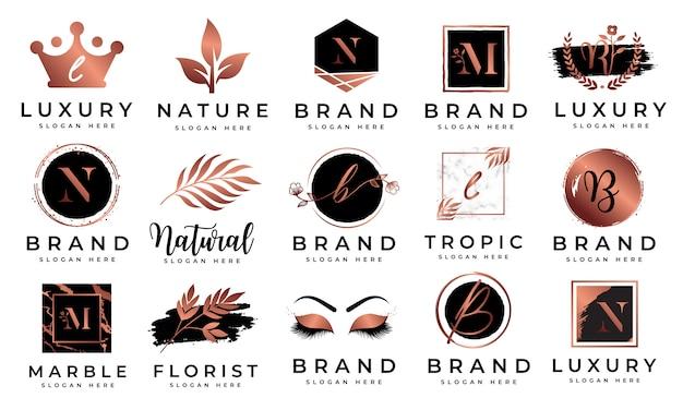 Weibliche logo-kollektionen Premium Vektoren