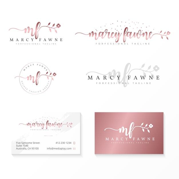 Weibliche logo-sammlungsvorlage Premium Vektoren