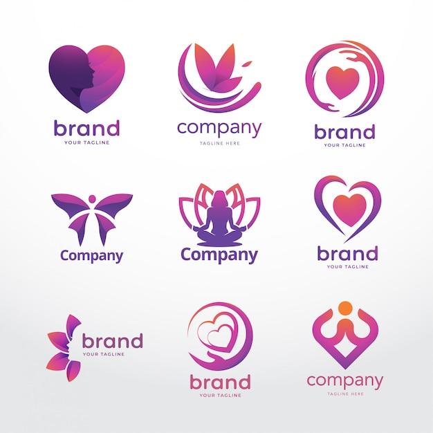 Weibliche logo-vorlage Premium Vektoren
