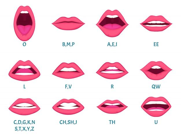 Weibliche mundanimation. sexy lippen sprechen töne aussprache englisch buchstaben animation frames vorlage Premium Vektoren