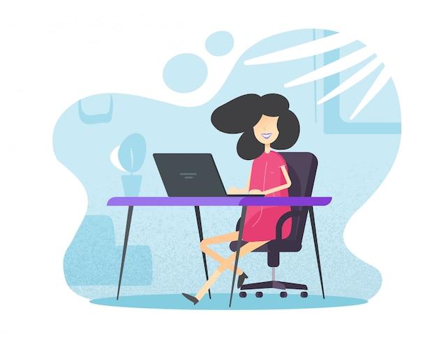 Weibliche person, die vom hauptbüro arbeitet und lernt, das auf tischschreibtisch sitzt Premium Vektoren