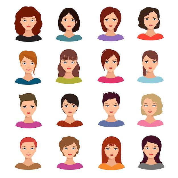 Weibliche porträts. junge frau geht mit verschiedener frisurvektoravatarablage voran Premium Vektoren