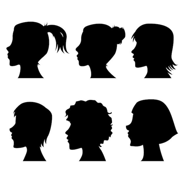 Weibliche profilschattenbilder Premium Vektoren
