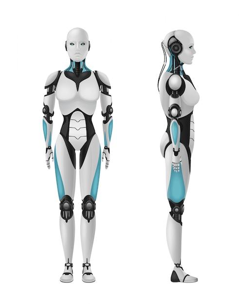 Weibliche realistische zusammensetzung 3d des roboter android des humanoiden roboters mit weiblichem körper auf freiem raum Kostenlosen Vektoren