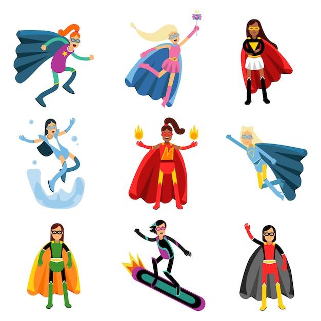 Weibliche superhelden in verschiedenen kostümen bunt eingestellt Premium Vektoren