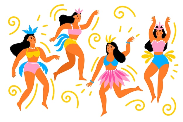 Weibliche tänzer des brasilianischen karnevals in der bunten kleidung Kostenlosen Vektoren