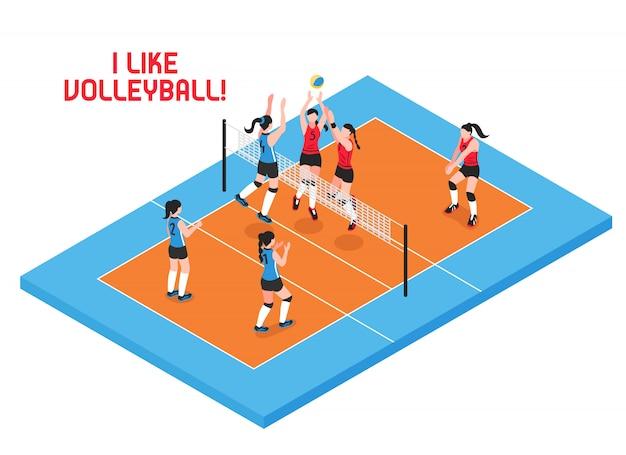 Weibliche teams während des volleyballspiels auf isometrischer illustration des blauen orange spielfelds Kostenlosen Vektoren