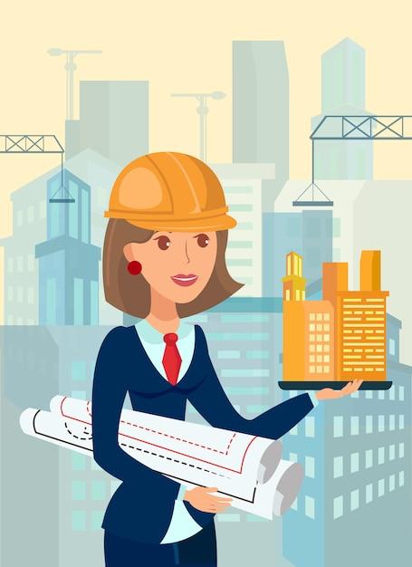 Weiblicher architekt, vorarbeiter flat vector illustration Premium Vektoren