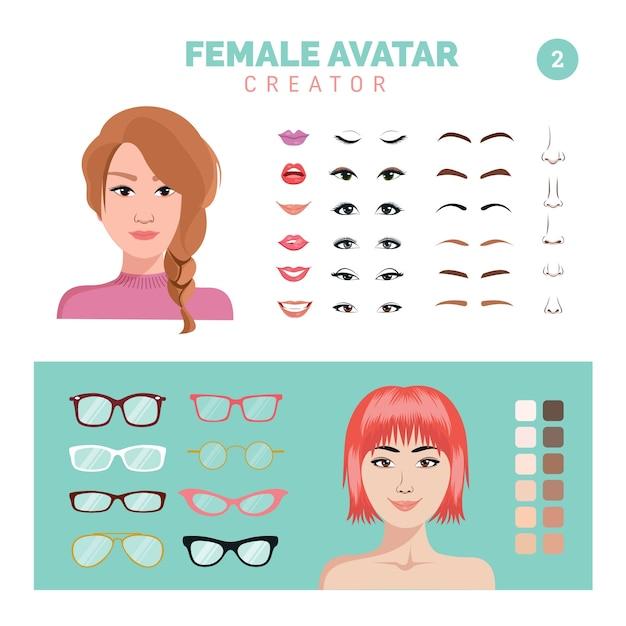 Weiblicher avatar-schöpfer teil 2 Premium Vektoren