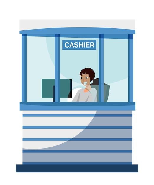 Weiblicher bankkassierercharakter, der am fenster der kassenabteilung sitzt Premium Vektoren