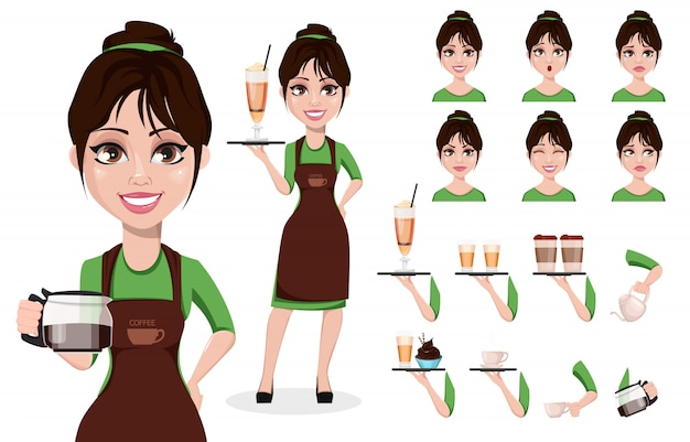 Weiblicher barista in berufsuniform Premium Vektoren