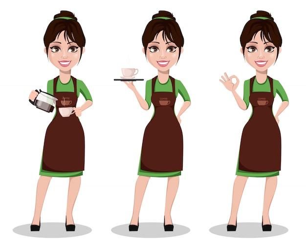 Weiblicher barista in professioneller uniform Premium Vektoren