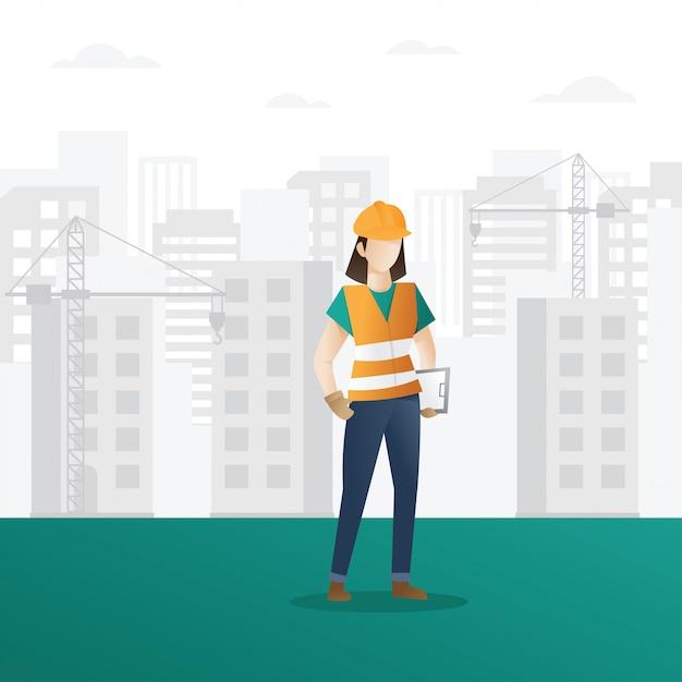 Weiblicher bauarbeiter, der klemmbrett hält Premium Vektoren