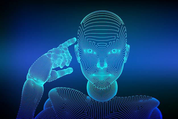 Weiblicher cyborg oder roboter des abstrakten wireframe hält einen finger nahe dem kopf und denkt oder berechnet unter verwendung ihrer künstlichen intelligenz. Premium Vektoren
