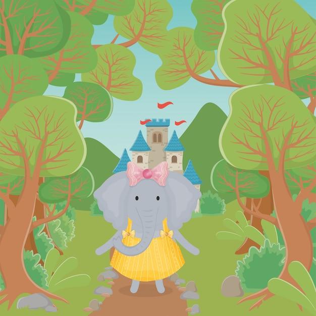 Weiblicher elefant mit rock- und blumenphantasiemärchen Premium Vektoren