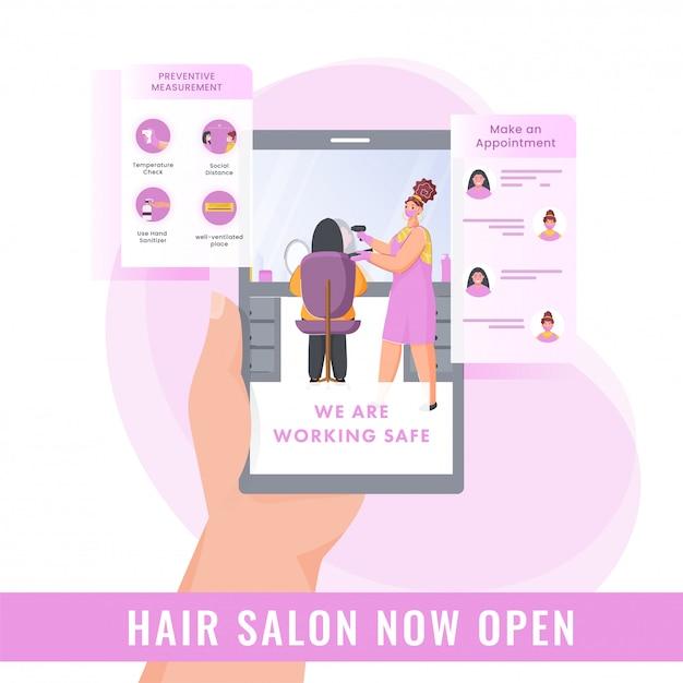 Weiblicher friseursalon jetzt offene werbung vom smartphone mit vorbeugender messung und termin auf weißem und rosa hintergrund. Premium Vektoren