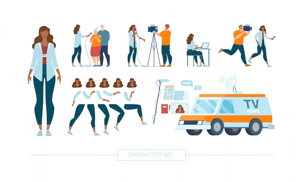 Weiblicher journalist character constructor vector set Premium Vektoren