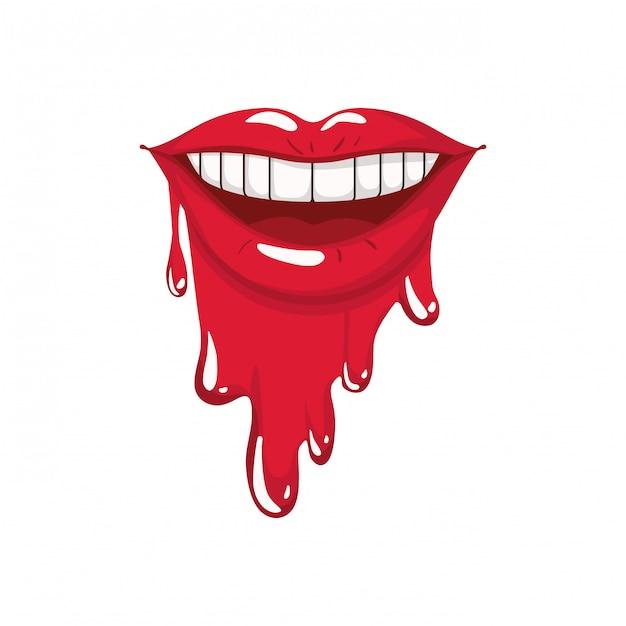 Weiblicher mund, der lokalisierte ikone tropft Premium Vektoren