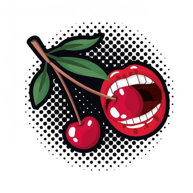 Weiblicher mund, der mit kirschfrucht tropft Premium Vektoren