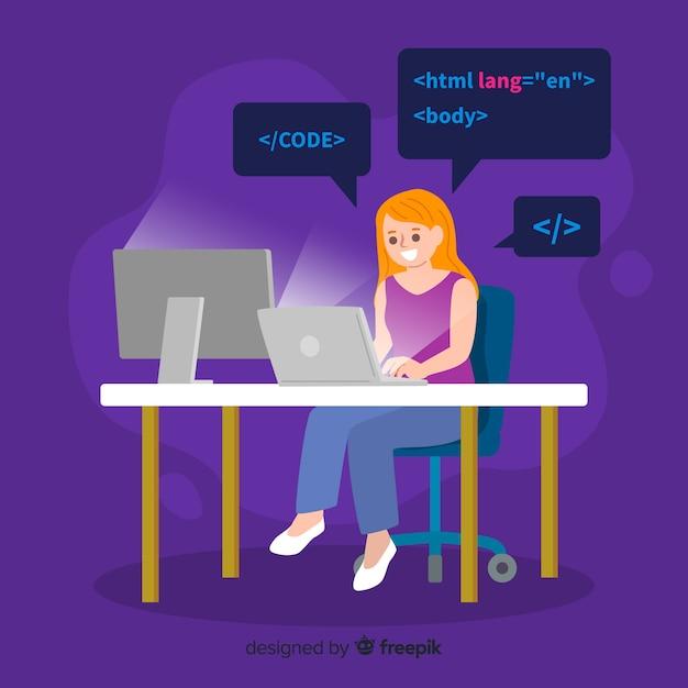 Weiblicher programmierer, der ihre arbeit im büro erledigt Kostenlosen Vektoren