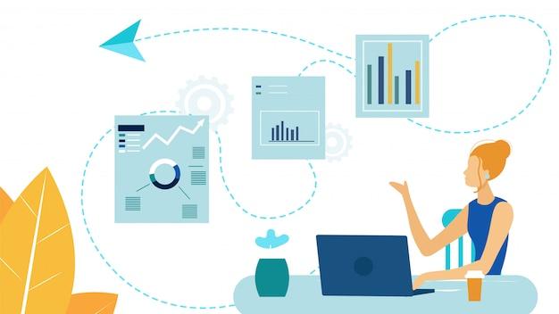 Weiblicher unternehmer, analytiker vector illustration Premium Vektoren