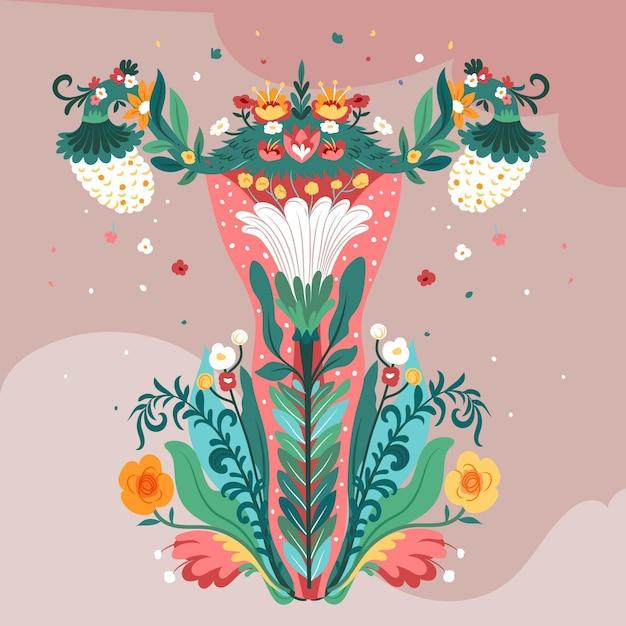Weibliches fortpflanzungssystem mit blüten Kostenlosen Vektoren