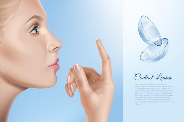Weibliches gesicht und kontakte für das sehen in der hand, frau, die kontaktlinsen anwendet. Premium Vektoren