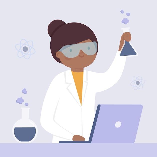 Weibliches illustrationsdesign des wissenschaftlers Kostenlosen Vektoren