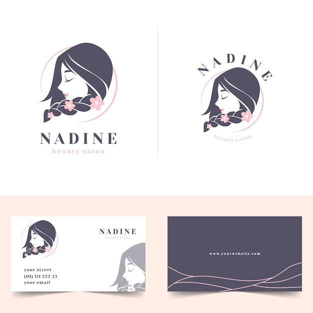 Weibliches logo des schönheitssalons mit visitenkarte des briefpapiers Premium Vektoren