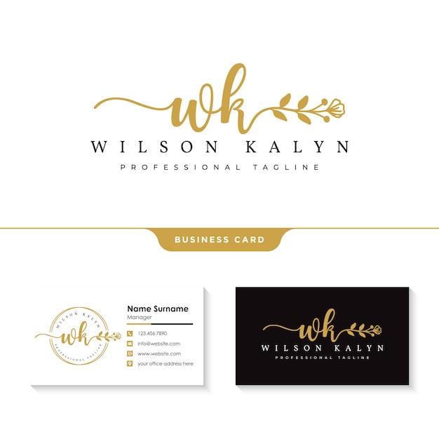 Weibliches logo mit visitenkartenvorlage Premium Vektoren