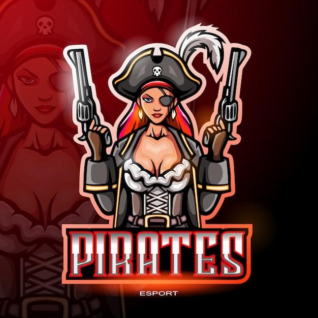 Weibliches piratenmaskottchenlogo für elektronisches sportspiellogo Premium Vektoren